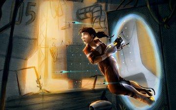 girl, play, the portal gun, portal 2, chell