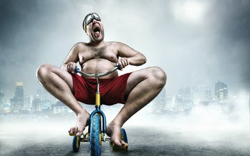 wheel, joy, male, man, buildings, bike, tricycle, gestures