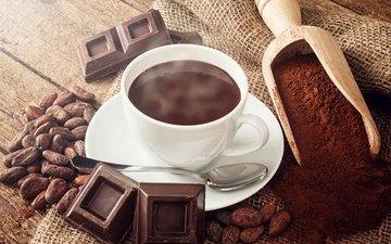 напиток, зерна, кофе, шоколад, водопой, в шоколаде, какао
