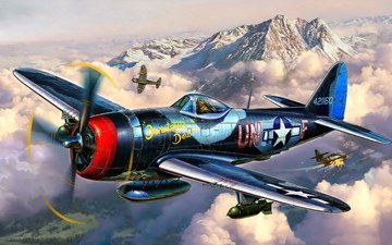 art, the plane, fighter, thunderbolt, p-47, republic