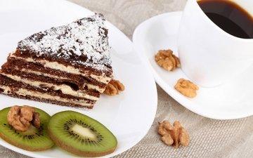 орехи, кофе, киви, сладкое, выпечка, торт, десерт, пирожное, кулич, кусочек, гайки, baking, сладенько