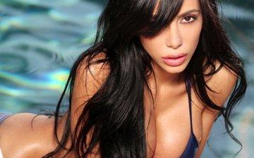 вода, девушка, брюнетка, модель, бассейн, грудь, волосы, лифчик, lela star