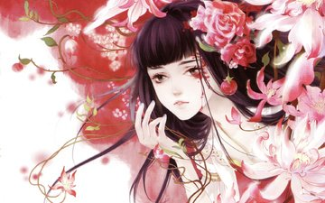 flowers, art, girl, clothing, tears, chinese, mao jun