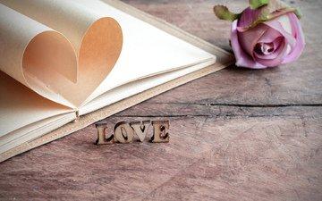 цветок, сердечко, буквы, любовь, книга, влюбленная