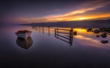 озеро, закат, отражение, лодка, норвегия, норвегии, озеро тюрифьорд, бускеруд, lake tyrifjorden, lake tyri