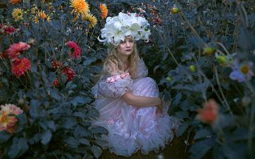 цветы, девушка, настроение, платье, блондинка, лилии, венок, георгины, holly brown