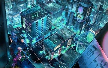 фантастика, город, робот, аниме, кибер, инженер, проекция
