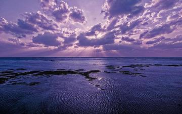 берег, закат, пейзаж, море