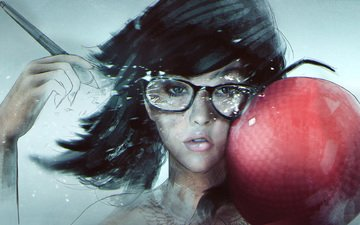 art, girl, glasses, face, blow, dodgeball, hipster