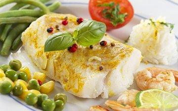 кукуруза, рыба, горох, помидор, рис, креветки, специи, креветка