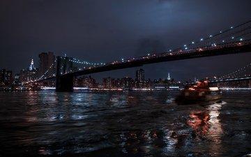 ночь, огни, отражение, мост, город, фотограф, julia sariy