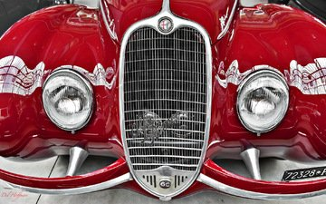 alfa romeo, red, grille, lights