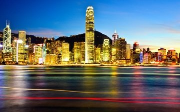 ночь, огни, город, азия, небоскребы, китай, подсветка, гон-конг, гавань, гонконг, кнр