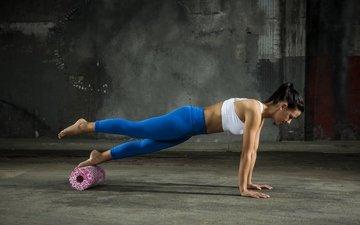 девушка, брюнетка, спорт, фитнес, тренировки