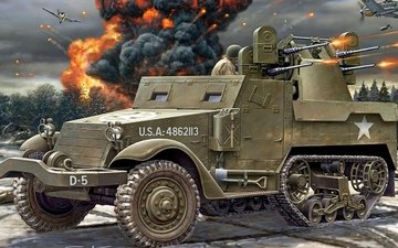 art, american, m3, carrier, half-track, personnel