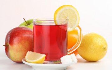 фрукты, лимон, яблоко, чашка, чай, сахар