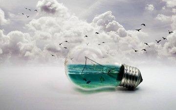 облака, море, лампа, рыбы, птицы, k