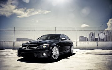 black, skyscrapers, parking, blik, c-klasse, mercedes benz, c 63, mercedes-benz, front
