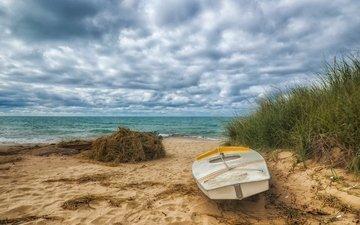 небо, облака, море, песок, пляж, лодка, океан, катер, океана
