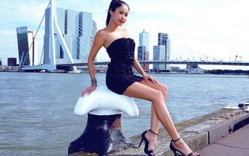 девушка, платье, брюнетка, мост, модель, ножки, порт, азиатка, davon kim