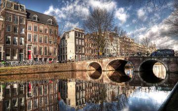 река, отражение, мост, дома, амстердам
