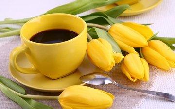 цветы, кофе, тюльпаны, чашка, завтрак, жёлтая, кубок, тульпаны, цветы