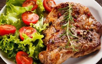 листья, мясо, помидоры, томаты, салат, стейк, помидорами, бифштекс, специя