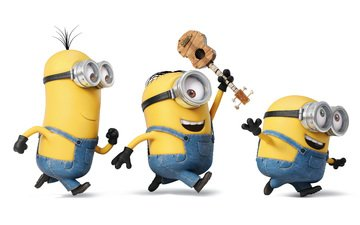 mood, guitar, glasses, cartoon, joy, white background, yellow, characters, gloves, three, minions, jumpsuits