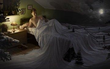 night, snow, tree, winter, the moon, lamp, sleep, people, bed, male, man, k