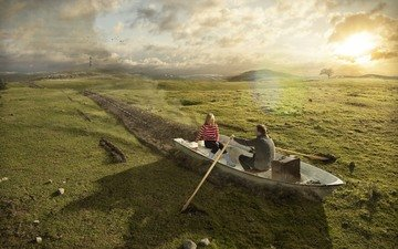 grass, the sun, field, boat, romance, pair, male, woman, k, paddles