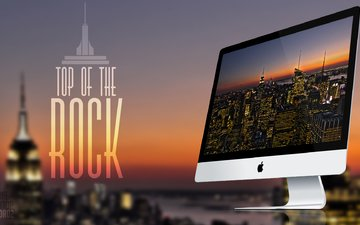 the inscription, monitor, apple, top of the rock