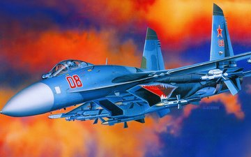the plane, aviation, fighter, machine, russian, russian air force, the su-27. aviation