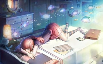 sadness, anime, lies, girl, sofa, dream, classes