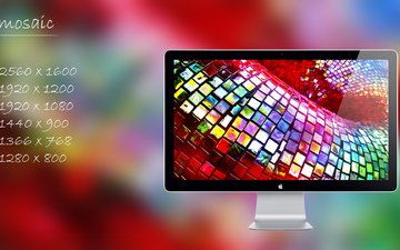 мозаика, монитор, лого, экран, мозайка