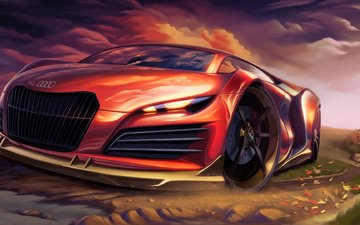 art, red, car, audi, sports, supercar