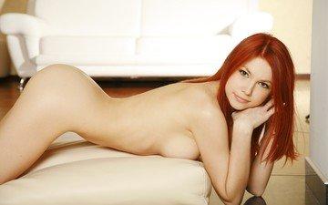 рыжая, грудь, обнаженная, голые, обнаженные девушки