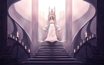 candles, girl, dress, fantasy, the throne