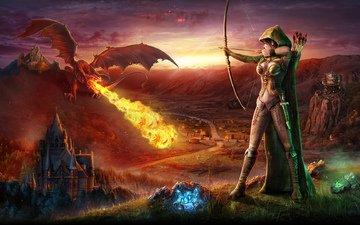mountains, castle, dragon, fire, bow, archer, arrows