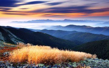 небо, облака, деревья, горы, лес, туман, вид, горизонт, панорама, долина, higlands, green decline, красивейший