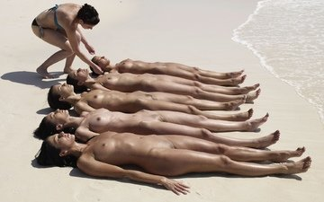 пляж, девушки, киски, груди, голые