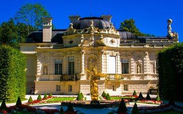 небо, деревья, замок, статуя, дворец, германия, линдерхоф, грасвангталь, schloss linderhof