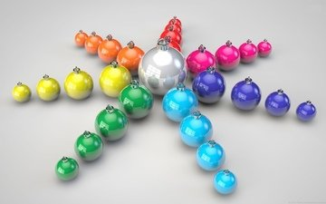 rays, color, star, balls, toys, holiday