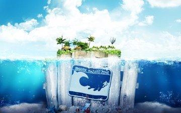 небо, вода, остров