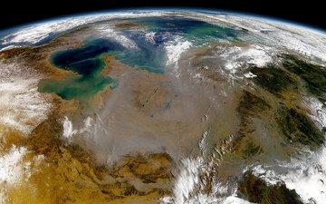 земля, космос, снимок, bulutlar, yüzey, çöller, denizler