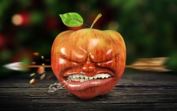 ситуация, рендеринг, стрела, зубы, яблоко