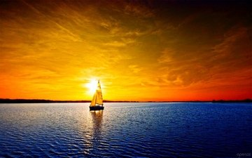 река, закат, парусник, яхта
