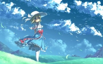 grass, clouds, mountains, field, the wind, hat, bow