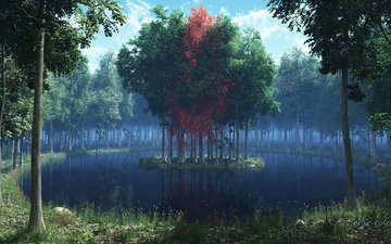 grass, trees, lake, forest, leaves, island, render