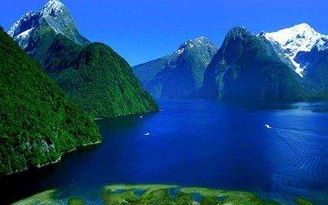 небо, облака, озеро, горы