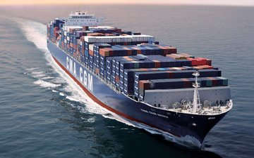 sea, the ship, cargo, a container ship, board, cma cgm, medea